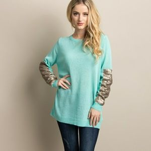 Pink Blush Sequin Accent Sleeve Knit Sweater